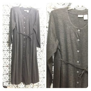 New gray Jersey maternity dress 1X button front